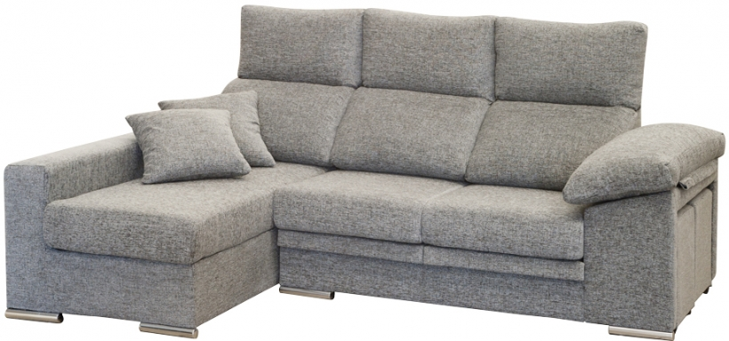 1 Luxury Sofa Chaise Longue Gris Tela Sectional Sofas Muebles Sarria Cordoba